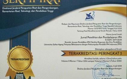 Jurnal Penelitian dan Pembelajaran IPA FKIP Universitas Sultan Ageng Tirtayasa, Indonesia terindeks ASEAN Citation Index (ACI)