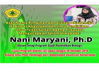Selamat Nani Maryani, Ph.D